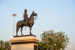 Equestrian statue of King Chulalongkorn in the evening, Bangkok, Thailand. March 3, 2018. Close up detail of the Equestrian statue of King Chulalongkorn in the royalty free stock photo