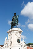 Equestrian statue King Jose I on the Praca do Comercio Royalty Free Stock Photos