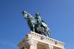 Saint Stephen at the Fishermans Bastion on the Castle hill in Budapest. Equestrian statue of King Saint Stephen at the Fishermans Bastion on the Castle hill in stock photo