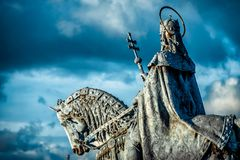 Equestrian statue of King Stephen I Szent Istvan kiraly at Fischer Bastion. Budapest, Hungary.  royalty free stock image