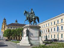 Equestrian statue of Ludwig I, king of Bavaria, on the Odeonsplatz in Munich, Germany Royalty Free Stock Photos