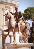 Equestrian statue of Marcus Aurelius in Piazza del Campidoglio in Rome.  Stock Images