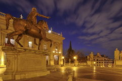 Piazza del Campidoglio. Equestrian Statue of Marcus Aurelius, at night - landmark attraction in Rome, Italy. Equestrian Statue of Marcus Aurelius in Piazza del Stock Images