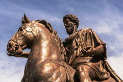 Equestrian Statue of Marcus Aurelius. Rome, Italy. Equestrian Statue of Marcus Aurelius in the Capitoline Hill Royalty Free Stock Images
