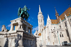 The equestrian statue and matthias church Stock Photography