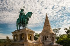 The statue of King Saint Stephen in Budapest. royalty free stock photography