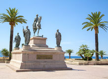 Equestrian statue of Napoleon Bonaparte, Ajaccio, France Royalty Free Stock Images