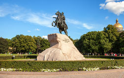 The equestrian statue of Peter the Great (Bronze Horseman) Stock Photos