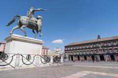 Equestrian statue at Plebiscito Square, Naples, Italy Stock Images
