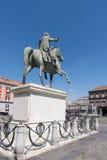Equestrian statue at Plebiscito Square, Naples, Italy Stock Photos