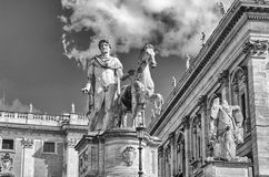 Equestrian statue of Pollux on Capitol, Rome Royalty Free Stock Images