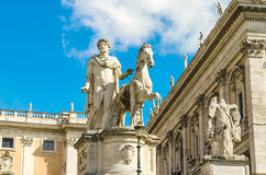 Equestrian statue of Pollux on Capitol, Rome Royalty Free Stock Photos