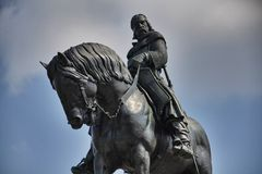 Equestrian statue in Prague, Czech republic Stock Image