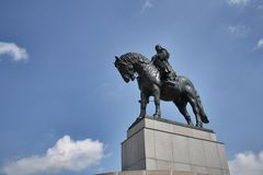Equestrian statue in Prague, Czech republic Royalty Free Stock Images