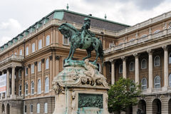 Equestrian statue of Prince Eugene of Savoy. Bronze equestrian statue of Prince Eugene of Savoy by Jozsef Rona at the western forecourt of Buda palace Stock Photo