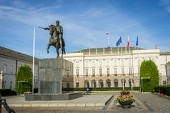 Equestrian statue of Prince Jozef Poniatowski, Presidential Palace in Warsaw Stock Image