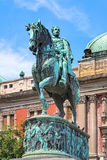 Equestrian statue of Prince Mihailo Obrenovic in Belgrade, Serbi Royalty Free Stock Photo