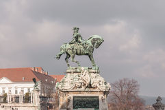 Equestrian statue of Prince Savoyai Eugen in front of the historic Royal Palace in Buda Castle Royalty Free Stock Image