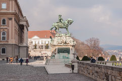 Equestrian statue of Prince Savoyai Eugen in front of the historic Royal Palace in Buda Castle Stock Photos