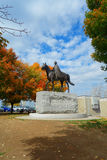 Equestrian statue of Queen Elizabeth II. On the background of the cloudy sky surrounded by autumn trees. Parliament Hill Ottawa Canada Stock Photography