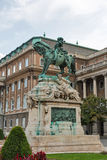 Equestrian statue of Savoyai Eugen in Buda Castle. Budapest, Hungary. Equestrian statue of Prince Savoyai Eugen in front of the historic Royal Palace in Buda Stock Images