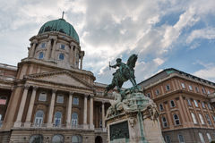 Equestrian statue of Savoyai Eugen in Buda Castle. Budapest, Hungary. Equestrian statue of Prince Savoyai Eugen in front of the historic Royal Palace in Buda Stock Image