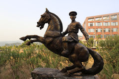 Equestrian statue of soldier Royalty Free Stock Photography