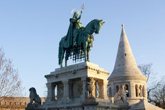 The equestrian statue of St. Stephen.King of the Hungarian Kingdom.Budapest  Stock Photos
