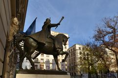 Equestrian statue of Vlad Tepes, the Impaler. Bucharest, Romania - November 4, 2018: Equestrian statue of Vlad Tepes or Vlad the Impaler, ruler of Wallachia stock photography