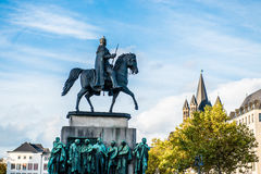 Equestrian statue of Wilhelm II. Equestrian statue on the Hohenzollern bridge, Cologne or Koln in Germany, Europe Stock Photography