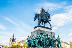 Equestrian statue of Wilhelm II Stock Photos