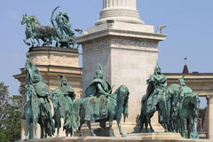 Equestrian statues in Heroes Square royalty free stock photography