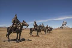 Equestrian statues of warriors of Genghis Khan. Tsonjin Boldog, Mongolia Stock Image