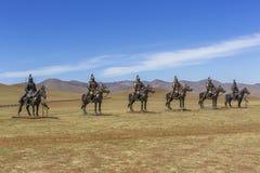 Equestrian statues of warriors of Genghis Khan, Tsonjin Boldog,. Tsonjin-Boldog, Mongolia - May,06 2016: Equestrian statues of warriors of Genghis Khan Royalty Free Stock Image