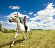 Equestrian su a cavallo immagini stock