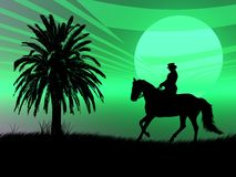 Equestrian in the sunset. Woman riding with her horse in the night Stock Images