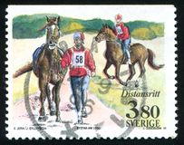 Equestrian. Sweden - CIRCA 1990: stamp printed by Sweden, shows Equestrian, circa 1990 Stock Photo
