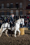 Equestrian tournament between knights. SANTO DOMINGO DE LA CALZADA, SPAIN - DECEMBER 4: equestrian tournament between knights in the annual medieval market Royalty Free Stock Image