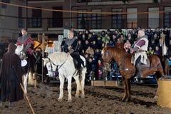 Equestrian tournament between knights. SANTO DOMINGO DE LA CALZADA, SPAIN - DECEMBER 4: equestrian tournament between knights in the annual medieval market Stock Photography
