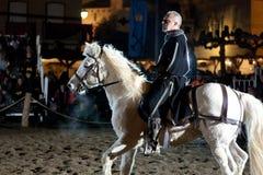Equestrian tournament between knights. SANTO DOMINGO DE LA CALZADA, SPAIN - DECEMBER 4: equestrian tournament between knights in the annual medieval market Stock Images
