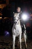 Equestrian tournament between knights. SANTO DOMINGO DE LA CALZADA, SPAIN - DECEMBER 4: equestrian tournament between knights in the annual medieval market Royalty Free Stock Photos