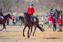 Equestrian tournament young girl trophy winner Royalty Free Stock Photos