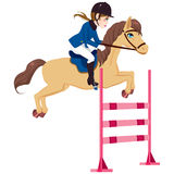 Equestrian Woman Jumping Horse. Equestrian young woman jumping obstacle with horse on show Stock Photos