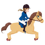 Equestrian Woman Running Horse Royalty Free Stock Photo