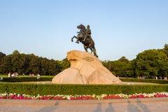 Equestrian zabytek Rosyjski cesarz Peter Ja obrazy royalty free
