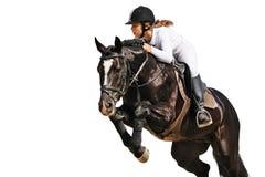Equestrianism: Het jonge meisje in het springen toont royalty-vrije stock foto