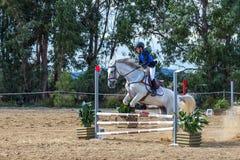 Equestrianism i en portugisisk naturhästreserv arkivbilder