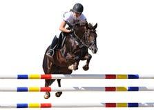 Equestrianism: Młoda dziewczyna w doskakiwania przedstawieniu, odosobnionym Obrazy Royalty Free