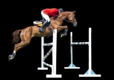 Equestrianism: Mann in der springenden Show, lokalisiert auf schwarzem Hintergrund lizenzfreie stockfotos