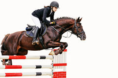 Equestrianism: Young girl in jumping show, isolated Royalty Free Stock Photos